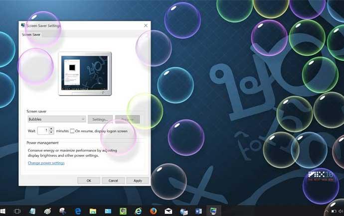 تنظیمات اسکرین سیور ویندوز 10