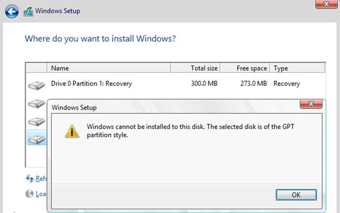 حل مشکل gpt در نصب ویندوز
