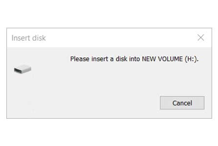 مشکل Please insert a disk into NEW VOLUME در ویندوز